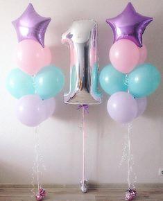 Unicorn Themed Birthday Party, 1st Birthday Party For Girls, Mermaid Birthday, Birthday Balloons, Unicorn Party, Baby Birthday, Balloon Decorations Party, Birthday Party Decorations, Aniversario Peppa Pig