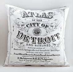 vintage DETROIT ATLAS pillow DIY kit, 16x16 envelope style, made to order. $35.00, via Etsy.