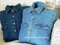 The Denim Shirt Pillow - looks like a great cuddle when your guy is out of town....use one of his old shirts and spray with his cologne