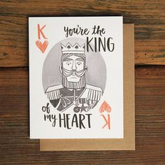 This playing card King was hand-drawn just for the king of your heart! Great for Valentines Day, your anniversary or just because! Printed locally in the