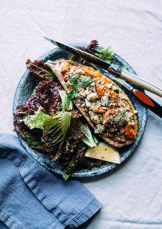 Stuffed Eggplant w/ Sunflower Romesco, Quinoa & Herbs - The First Mess