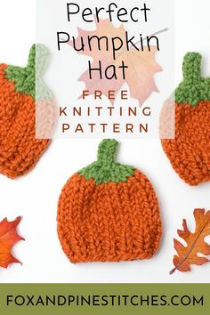 free knitting pattern for our pumpkin hat. perfect for newborn photography shoots or a thanksgiving baby. Comes in children's sizes as well. Great for an October baby. Halloween Knitting Patterns, Chunky Knitting Patterns, Knitting Projects, Designer Knitting Patterns, Sewing Patterns, Crochet Patterns, Fall Knitting, Knitting For Kids, Knit Or Crochet