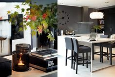 deep grey kitchen walls gorgeous crystal lighting - glamorous styling Slettvoll