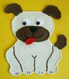 Crochet pattern with counting pattern - cat Mauz and dog Wuff - as potholders or deco - Patroniçem Marque-pages Au Crochet, Crochet Hot Pads, Crochet Carpet, Crochet Beanie, Crochet Home, Crochet Crafts, Yarn Crafts, Crochet Projects, Confection Au Crochet