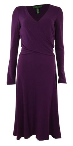 VNeck Long Sleeve Wrap Around Jersey Dress 10 Jeweled Garnet -- You can get additional details at the image link.(This is an Amazon affiliate link and I receive a commission for the sales)