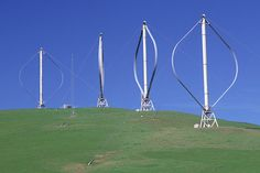 Egg-beaters of a new era  Darrieus-type vertical axis wind turbines at the Altamont Pass Wind Farm, Diablo Range in Northern California, which is one of the earliest wind farms in the US. The wind farm is composed of almost 5,000 relatively small wind turbines of various types.
