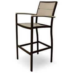Surf City Textured Bronze Patio Bar Arm Chair With Sand Castle Slats