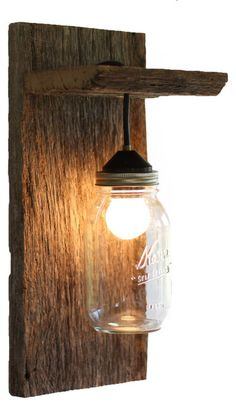 Barn Wood Mason Jar Light Fixture, Without Rope Detail - rustic - Wall Sconces - Grindstone Design Mason Jar Wall Sconce, Wall Sconce Lighting, Diy Light Fixtures, Wall Lights, Rustic Light Fixtures, Fixtures Diy, Mason Jar Light Fixture, Rustic Wall Sconces, Rustic Wall Lighting