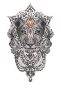Animal Mandala Tattoo, Mandala Tattoo Sleeve Women, Mandala Tattoos For Women, Lion Tattoo Sleeves, Wolf Tattoo Sleeve, Sleeve Tattoos For Women, Lion Thigh Tattoo, Leo Lion Tattoos, Family Tattoo Designs