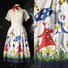 Cotton Skirt, Cotton Fabric, Vintage Style Dresses, Novelty Print, Embroidered Blouse, Printed Skirts, White Cotton, Dress Making, 1950s