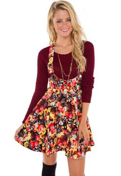 Cute for a teacher's outfit. <3A. Just Yesterday Floral Overall Dress