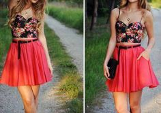 black floral crop top+ red flirty skirt. flirty, girly outfit. I love the length of the skirt