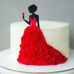 ideas for birthday girl cake red Diva Birthday Cakes, Birthday Cakes For Women, Birthday Cake Girls, Beautiful Birthday Cakes, Beautiful Cakes, Bolo Glamour, Bolo Fack, Diva Cakes, 40th Cake