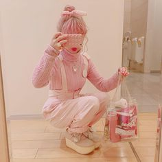 Pink fashion wirl fashion fashion week pink aesthetic strawberry shirt tees shoes summer winter spring Korean aesthetic pink clothing outfit soft girl aesthetics ulzzang fashion cute calming minimalist L e l i a L' a r t Harajuku Fashion, Kawaii Fashion, Lolita Fashion, Cute Fashion, Fashion Styles, Fashion Fashion, Pastel Outfit, Pink Outfits, Cute Outfits