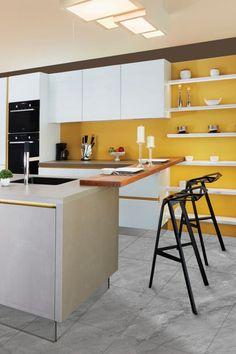 Kitchen Sink Diy, Kitchen Paint, Kitchen Tiles, New Kitchen Designs, Modern Kitchen Design, Unique Dining Tables, Yellow Kitchen Decor, Scandinavian Kitchen, Lifehacks