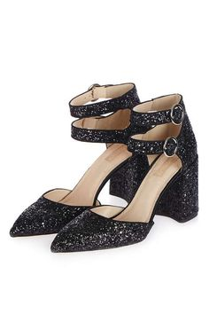 Black glitter two part shoes with double buckle fastening. #Topshop