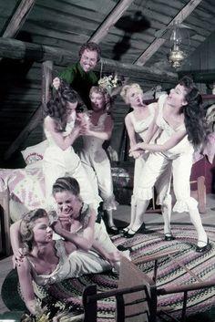 Seven Brides cat fight scene. Why is Adam in this photo? Perv!