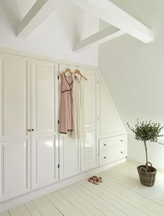smart use of closets in an attic room