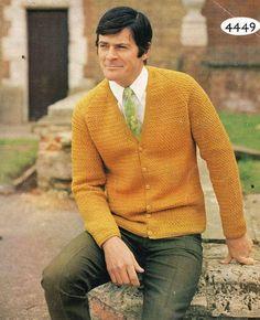 e83d0ddbc728e8 4449La Mens cardigan crochet vintage pattern PDF instant Vintage Crochet  Patterns