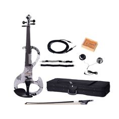 DSZA-1310 4/4 Flower Design Electric Acoustic Violin with Rosin Bow Case Headphone and Line