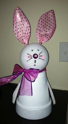 Easter Bunny made out of a clay pot