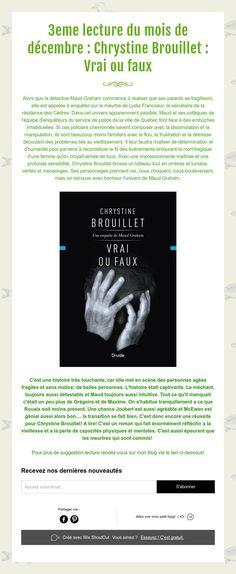 3eme lecture du mois de décembre : Chrystine Brouillet : Vrai ou faux