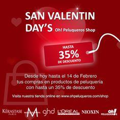 ¡San Valentin Day's Oh! Peluqueros Shop!  Desde hoy hasta el 14 de Febrero tus compras en productos de peluquería con hasta un 35% de descuento.  Visita nuestra tienda online en www.ohpeluqueros.com/shop