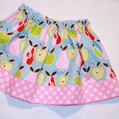 Apples and Pears Girls Skirt in blue pink by ThePolkaDotTotSpot