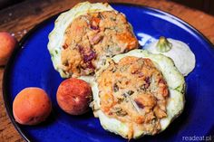 Patty-pan squash stuffed with apricots, sundried tomatoes and millet cottage cheese