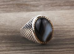 925 Sterling Silver Men's Gemstone Handmade Ottoman Style Ring Onyx 60115 #istanbulunique #Ottoman