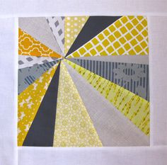 https://flic.kr/p/ahSaKi | 3x6 Q3 2011 - Tammy | for the  [3 x 6] Sampler Quilt Mini Bee  Q3 2011, Hive 15  yellow, gray, white background