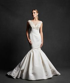 Caroll - Silk faille fit and flare gown with embroidered French lace bodice on stretch illusion