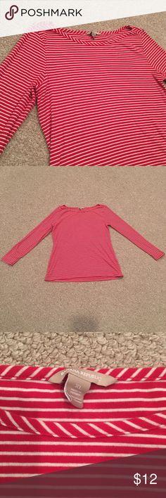 Banana Republic Red & White Stripe Boatneck Shirt Long sleeve. Slight wash wear/ pills but still VGUC. Banana Republic Tops Tees - Long Sleeve