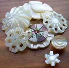 Unique mother of pearl buttons.