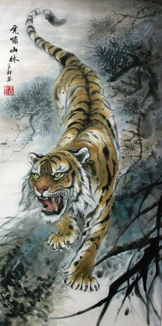 "Tiger Art decor "" Mountain tiger "" tiger hand painting"