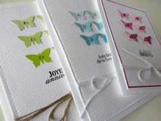 Petites cartes pour occasions variées (papillon faits dans un nuancier de peinture)