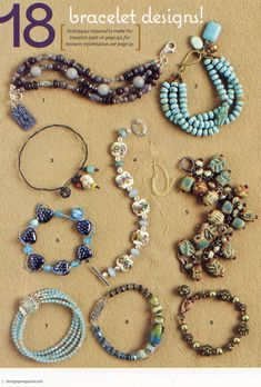 Turquoise Color Bracelet (upper right corner) by Toni McCarthy:  Stringing Winter 2009