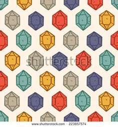 vintage gemstone #pattern - stock vector #design #graphic #vector #illustration #background