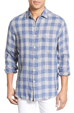 Billy Reid Standard Fit Gingham Linen Sport Shirt available at #Nordstrom