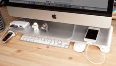 The Space Bar Desk Organizer - makes a shelf and adds USB ports