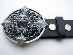 Vintage style lion king scroll design belt buckle with genuine leather snap on belt Waist 28 - 52 - belt buckles by Festivalfashionstall on Etsy