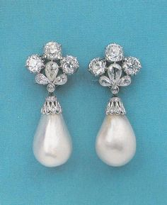 Diamond and Pearl Earrings; originally part of the French Crown Jewels.