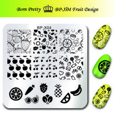 Cute Fruit Design Stamp Stencils for Nails BORN PRETTY 6*6cm Square Nail Art Stamping Plates Template Cherry Image Plate BP-X04