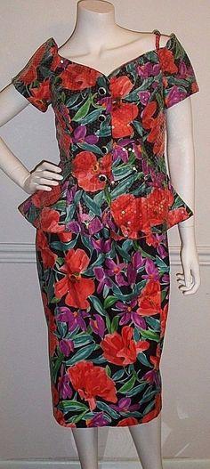 Joan Leslie Evenings 2 pc set Women's sz 8 Peplum Jacket Top & Pencil Skirt VTG #JoanLeslieEvenings