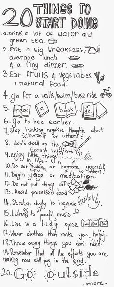 20 Things to Start Doing by http://damitroger.blogspot.fr: Tips for a Healthy Life! #Healthy_Life