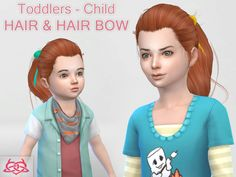 my first hair for younger girls - Find the hair bow in hats  Found in TSR Category 'Sims 4 Female Hairstyles'