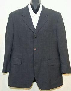Tiglio Italian Super 120s Wool Blazer Sport Coat~Gray Windowpane 3 Btn~44R/54EUC #Tiglio #ThreeButton
