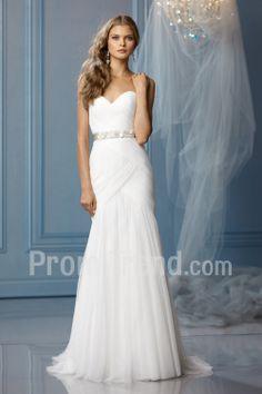 Sheath Strapless Sweetheart Sweep Train Net and Satin Wedding Dress For Bride - Promtrend.com