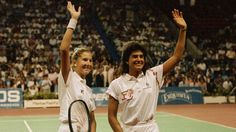 Monica Seles (left) and Sabatini wave to the crowd prior to their historic ladies final in the 1990 Virginia Slims Championships at Madison Square Garden. Monica disposed of Sabatini in a thrilling 5 set final that is regarded as one of the greatest matches in the history of Women's Tennis.