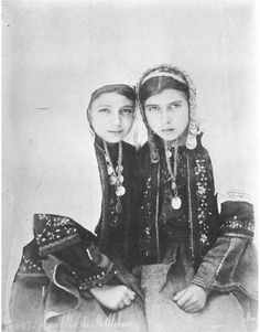 """""""Two Young Girls from Bethlehem"""" 1876-1918. """"Before Their Diaspora"""" - A photographic history of the Palestinians, 1876-1948, by Walid Khalidi"""